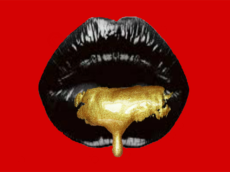 A photo of gold creme dripping out of black lips on a red background