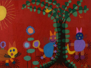 A fibre art piece, Jane Cameron's 3 Cats, promoting My Imagination is So Many Things