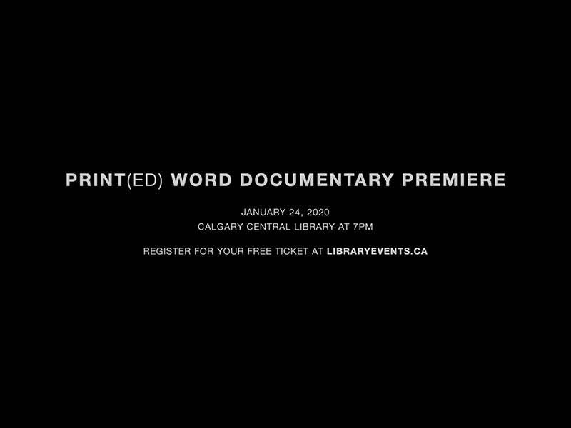 A graphic for the Print(ed) Word Documentary premiere screening
