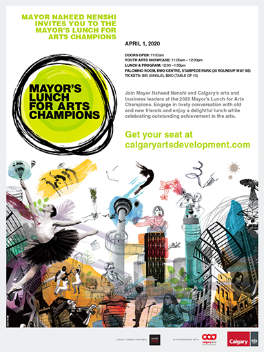 An invitation for the 2020 Mayor's Lunch for Arts Champions