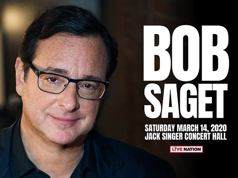 A graphic for Bob Saget live at the Jack Singer Concert Hall