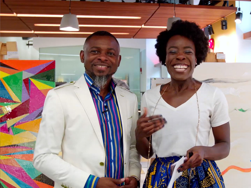 Lanre Ajayi and Diella Ocran at the ATB Financial Branch for Art and Culture