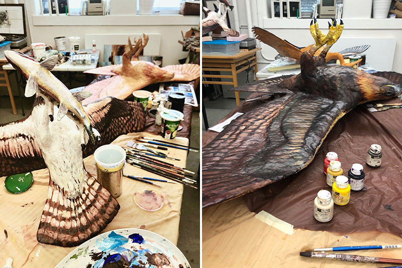 A side-by-side comparison of osprey and golden eagle sculptures in progress