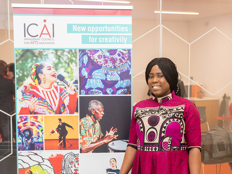 Toyin Oladele at an Immigrant Council for Arts Innovation event