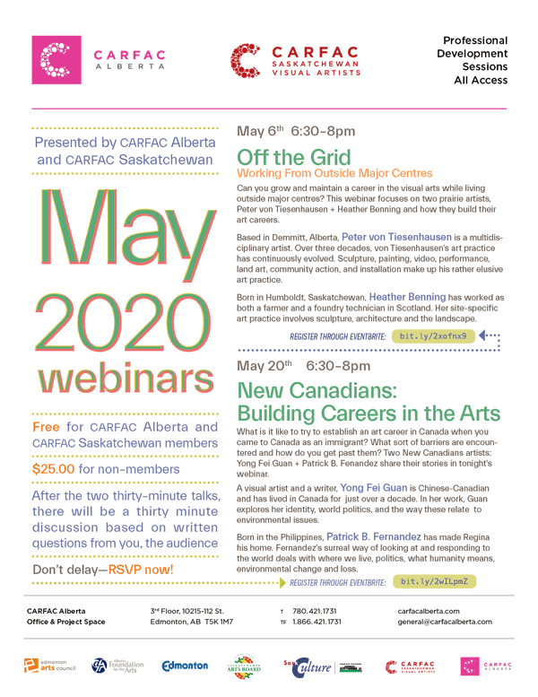 A poster promoting CARFAC Alberta's May 2020 Webinars