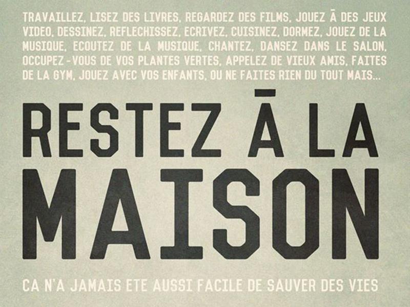 A poster for Restez à la Maison at La Cité des Rocheuses