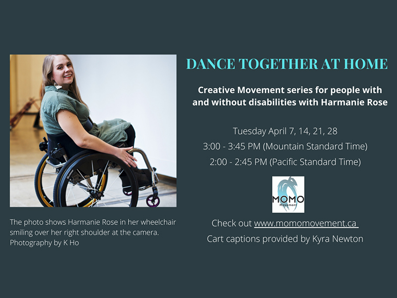 An ad shows a photo of Harmanie in her wheelchair. She is facing away from the camera and turning to smile over her right shoulder. There is text visible below the photo and to the left of the photo.