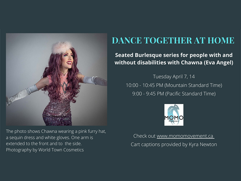 An ad shows a photo of Chawna wearing a sequin dress, a pink furry hat, and white gloves. She has one arm extended front and to the side, she looks up and smiles. There is text visible below the photo and to the left of the photo.