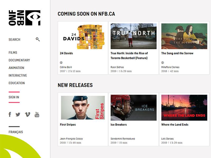 National Film Board of Canada website screencap