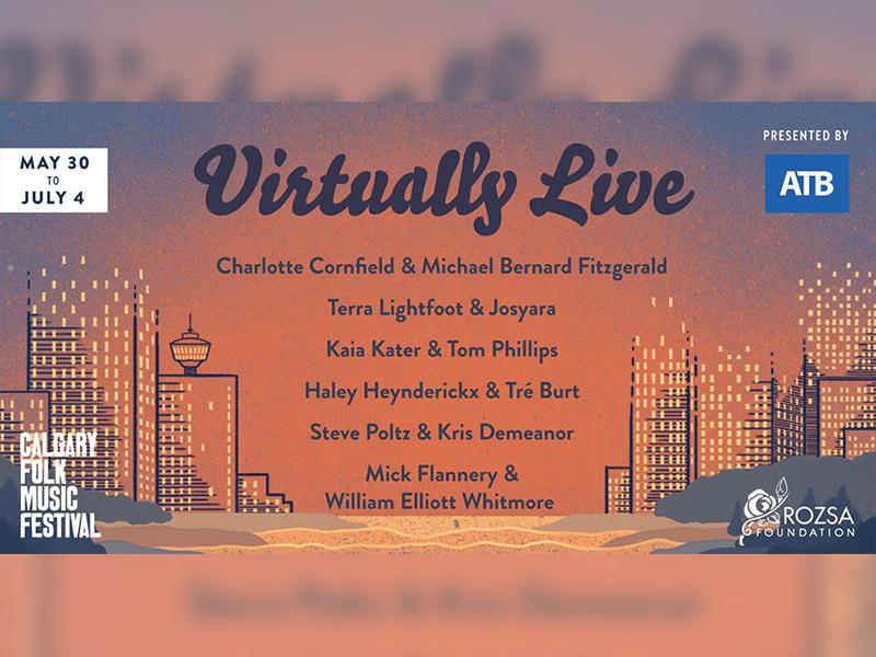 A graphic for Calgary Folk Music Festival's Virtually Live Series
