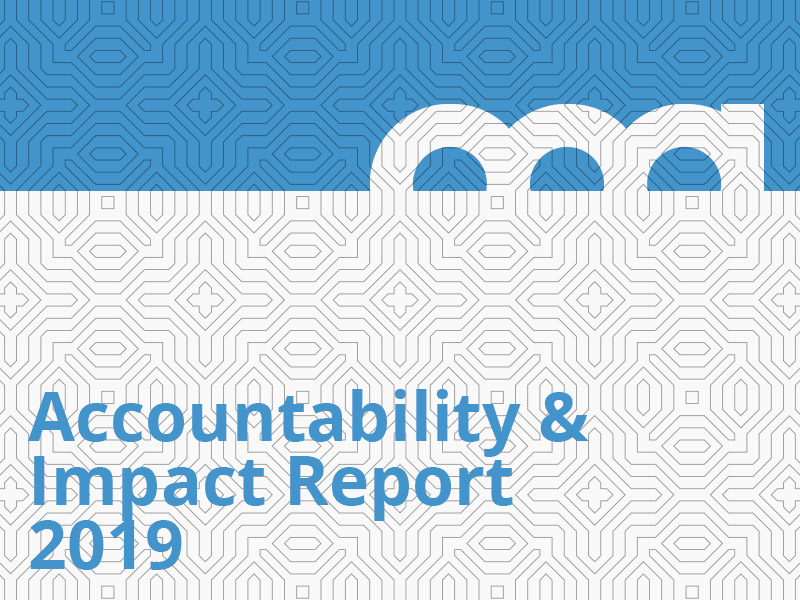 Accountability & Impact Report 2019 grpahic in blue
