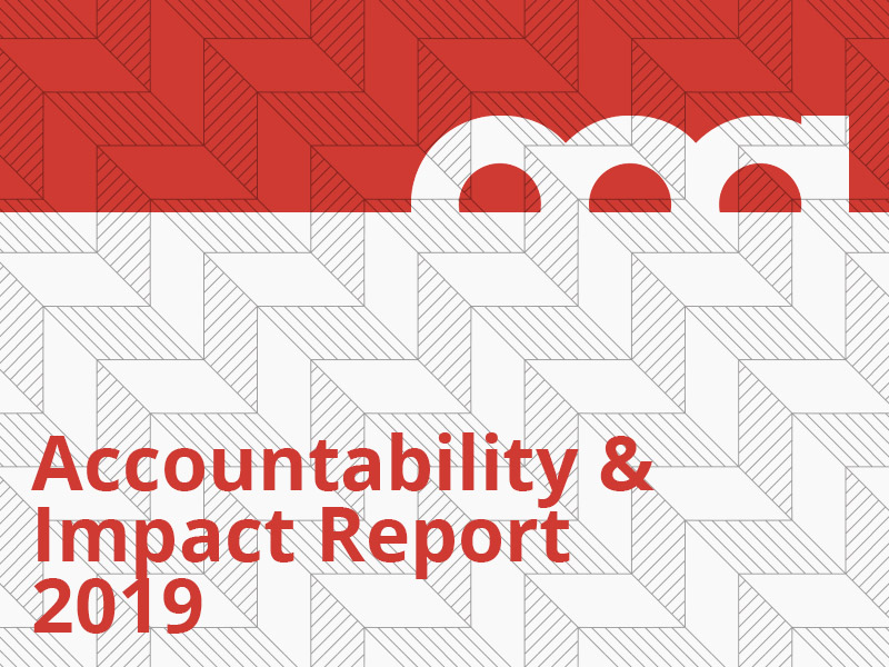 Accountability & Impact Report 2019 graphic in red
