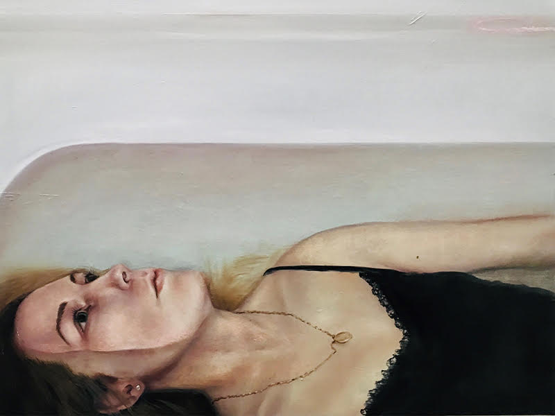 A painting of a woman lying in a bathtub