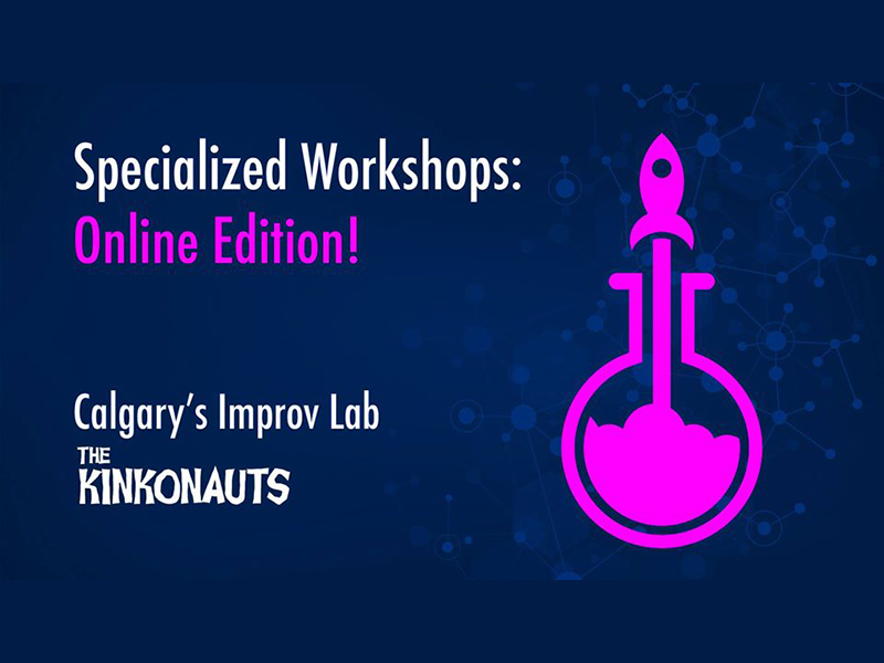 A graphic for The Kinkonauts' online improv workshops