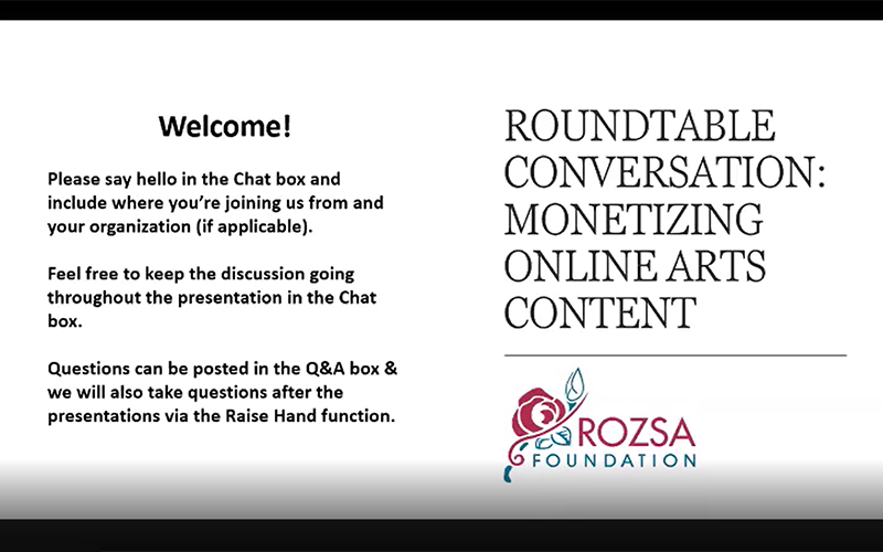 A screen cap from the Monetizing Online Arts Content roundtable