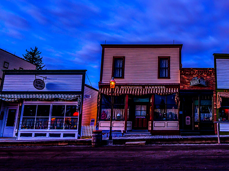 A photo of Heritage Park at dusk