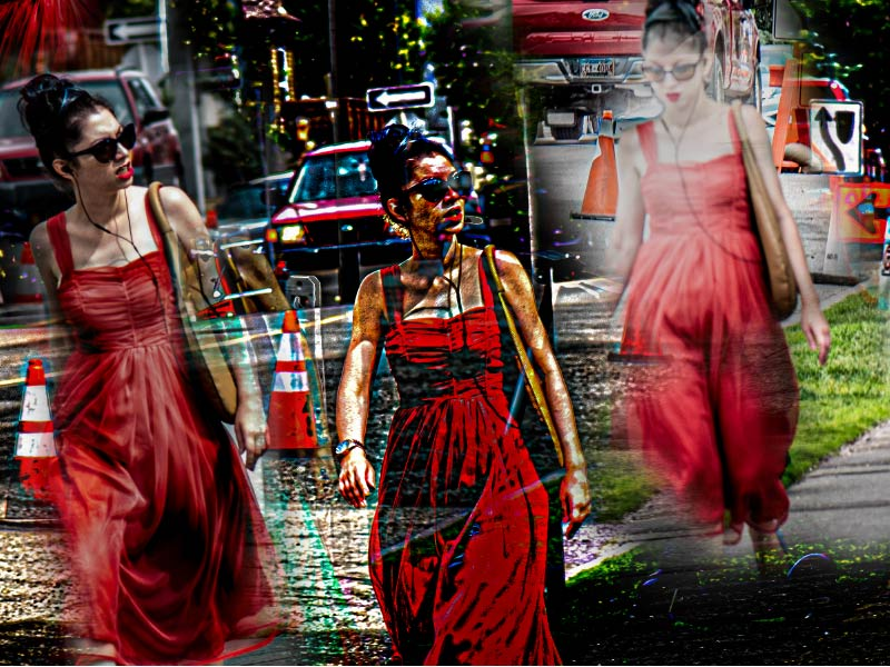 A manipuated photo of a person in red dress