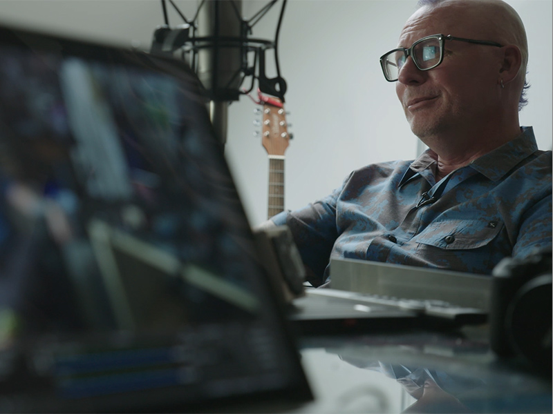 A screen cap from the Living a Creative Life web series of Michael Dargie in his studio