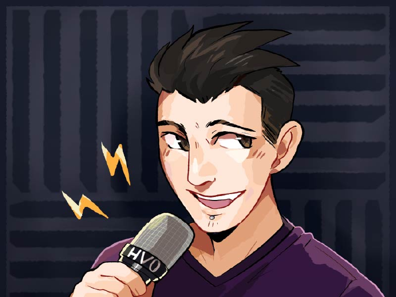 An animation of Nathan Hunt with microphone