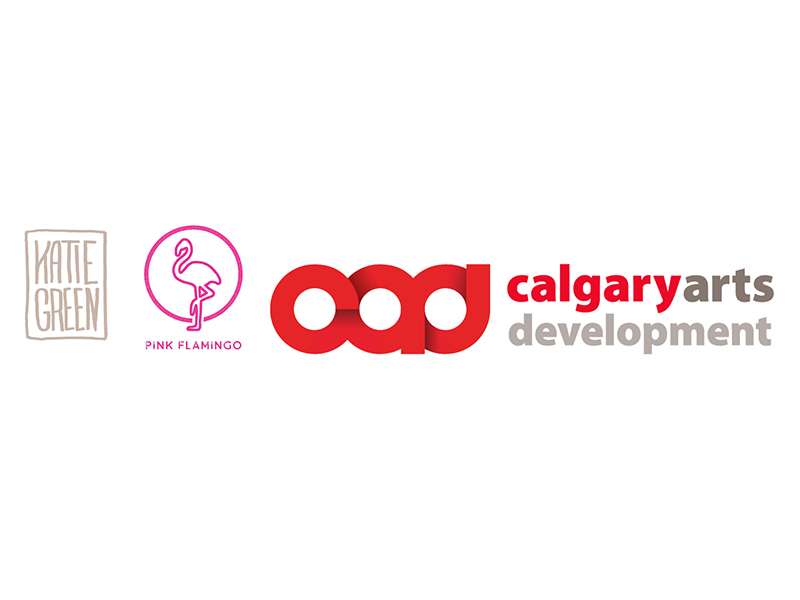 Logos for Katie Green, Pink Flamingo, and Calgary Arts Development
