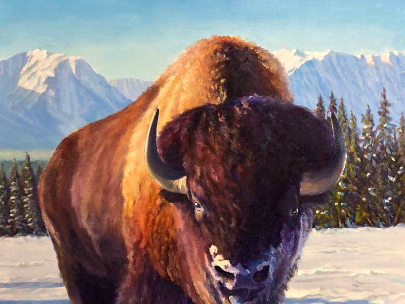 A painting of a buffalo by Ray Swirsky