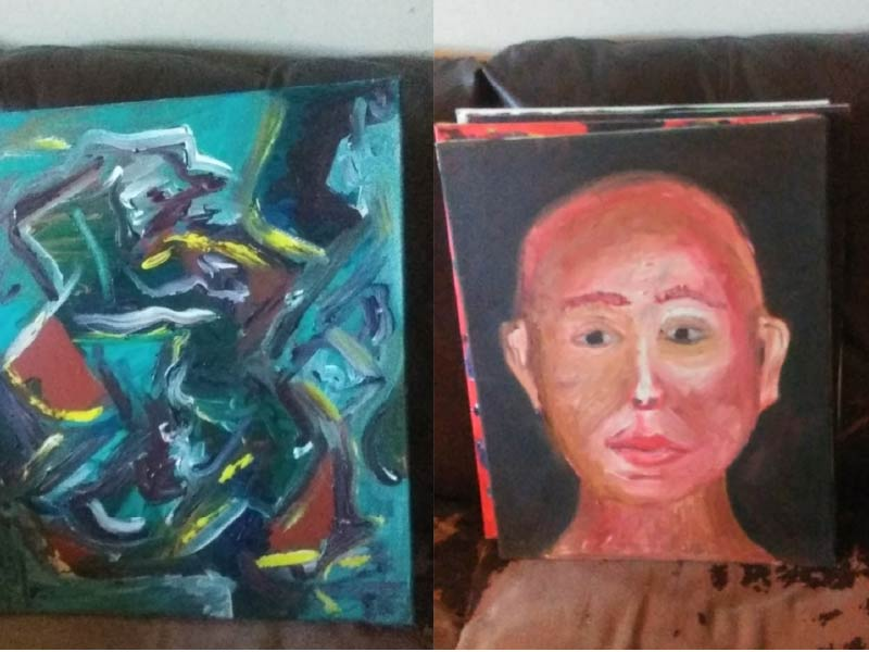 A photo of two artworks by Shaun Gamache