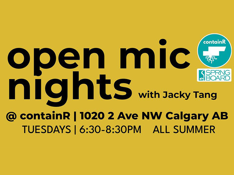 A graphic for Springboard Performance's Open Mic Nights