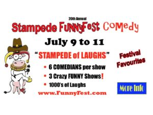 An ad for Funnyfest Stampede of Laughs