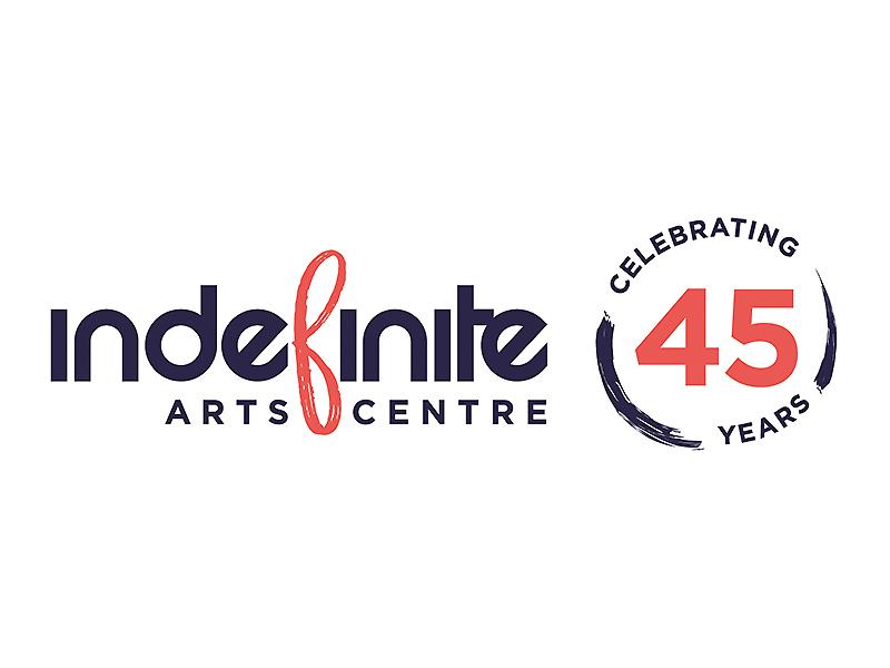 Indefinite Arts Centre 45 years logo