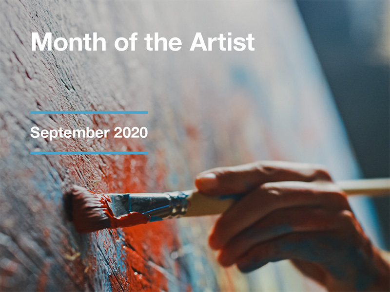 A graphic for Month of the Artist in September 2020