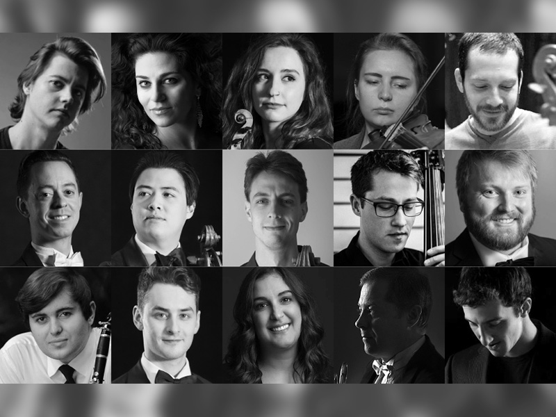 A collage of musicians participating in the Calgary Phil's Septets concert