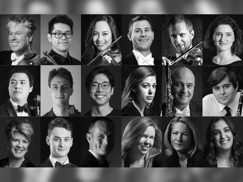 A collage of musicians participating in the Calgary Phil's Sextet + Septet concert