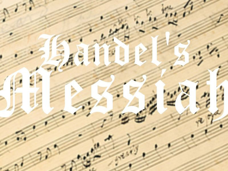 A graphic of sheet music with Handel's Messiah in text