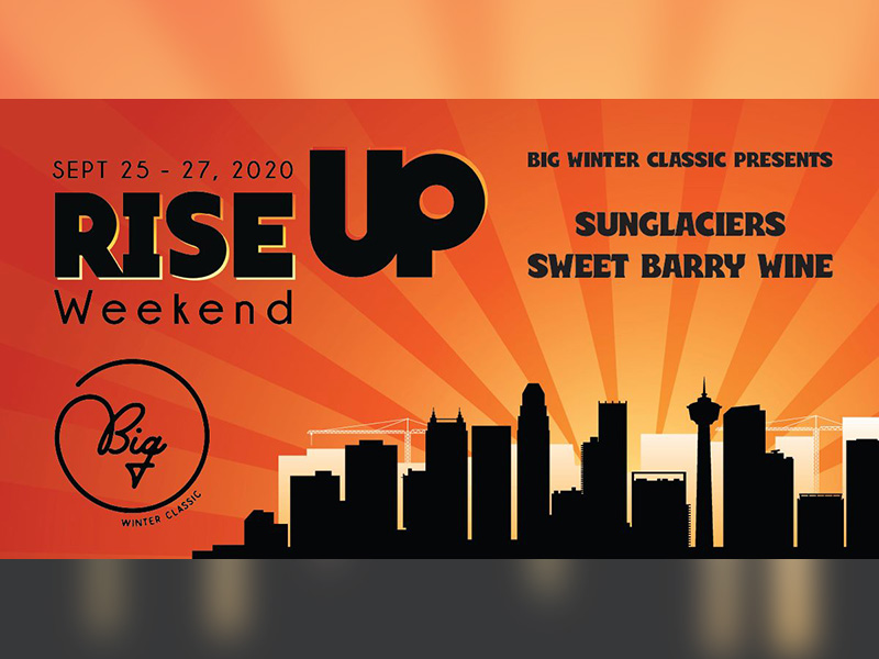 A graphic for Sweet Barry Wine and Sunglaciers at the RISE UP Weekend