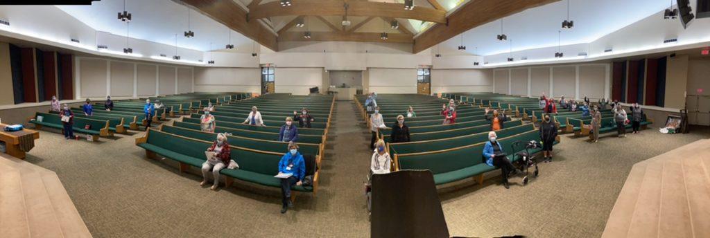 Photograph of social distancing measures at Cool Choir