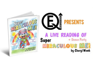 A graphic for the book launch of Super Miraculous Me