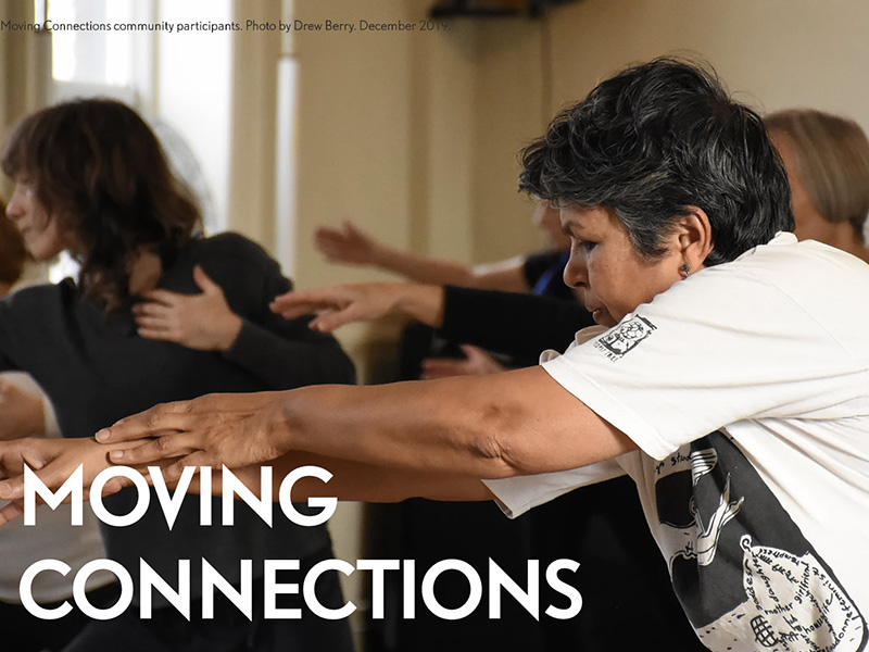 "A photo of dancers with ""Moving Connections"" written over it"