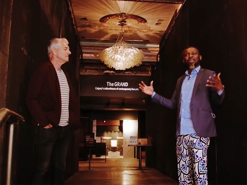 Tony McGrath and Lanre Ajayi at the doors of The GRAND