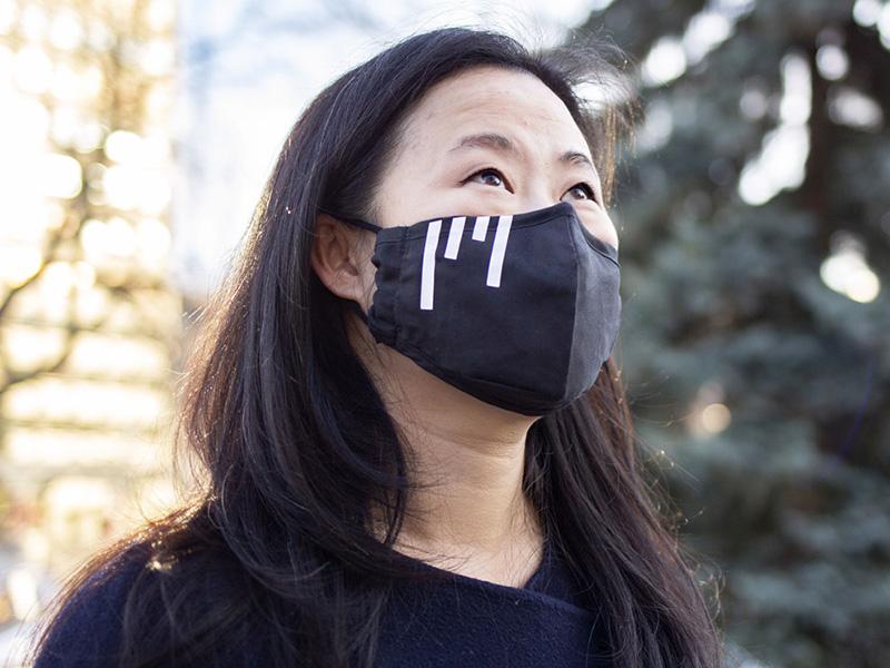 Principal Second Violin Lorna Tsai wearing the Icon(ic) Mask in Olympic Plaza