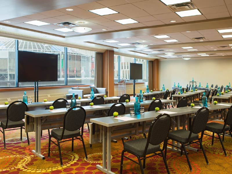 Image of a classroom setup in the Acadia Room