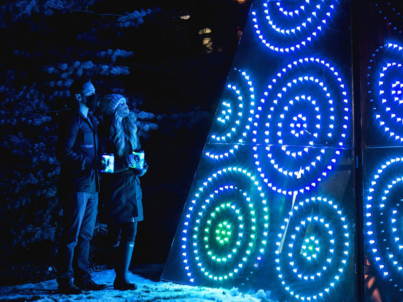 Two people look at a light up art installation in winter