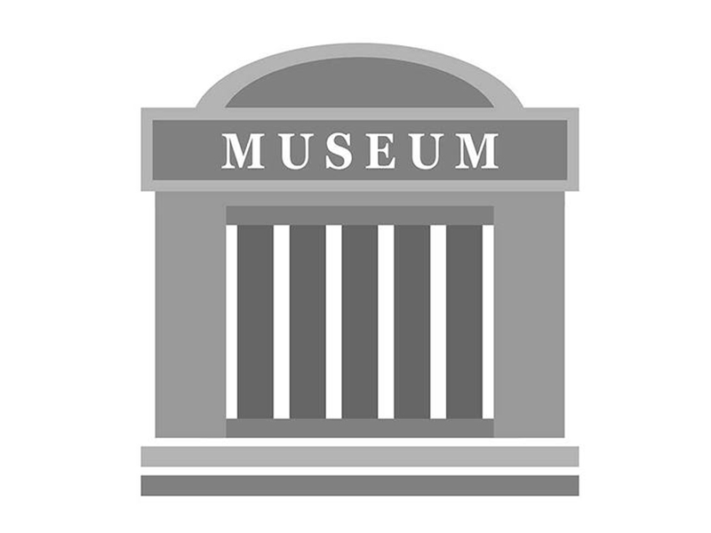"""An illustration of a building with columns that says """"Museum"""" at the top"""