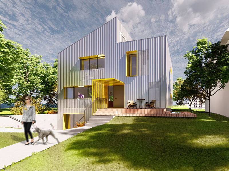 A rendering of the Almost Passive House
