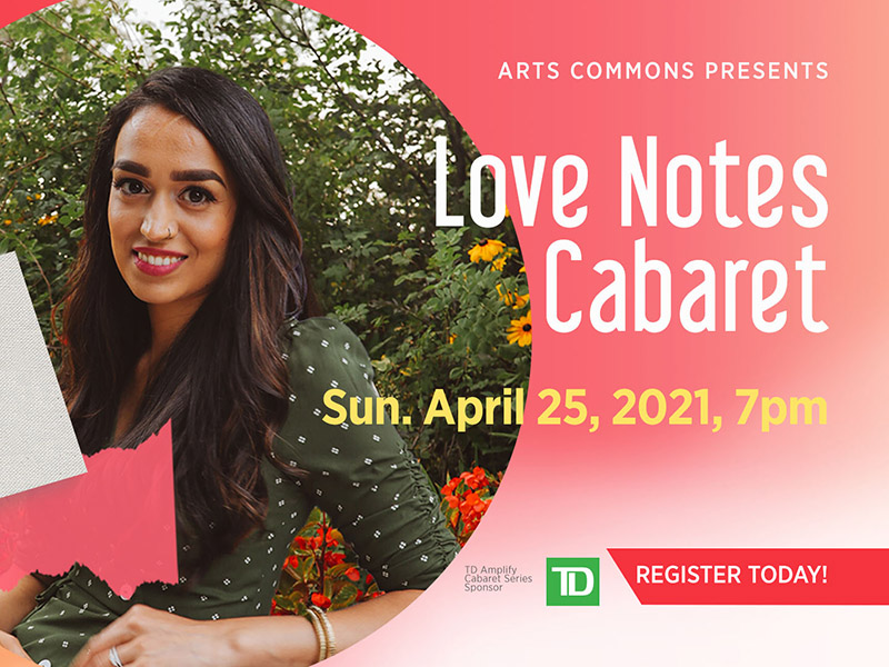 A promotional image for the Love Notes Cabaret at Arts Commons
