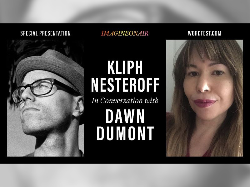 A graphic for Wordfest presents Kliph Nesteroff