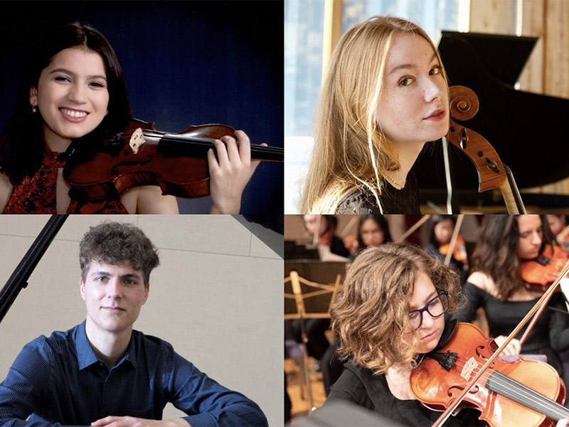 A collage of musicians performing in the Young Artists Debut Concert