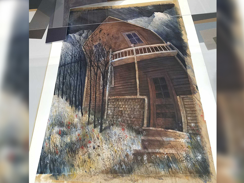 Photograph of a watercolour artwork with missing information