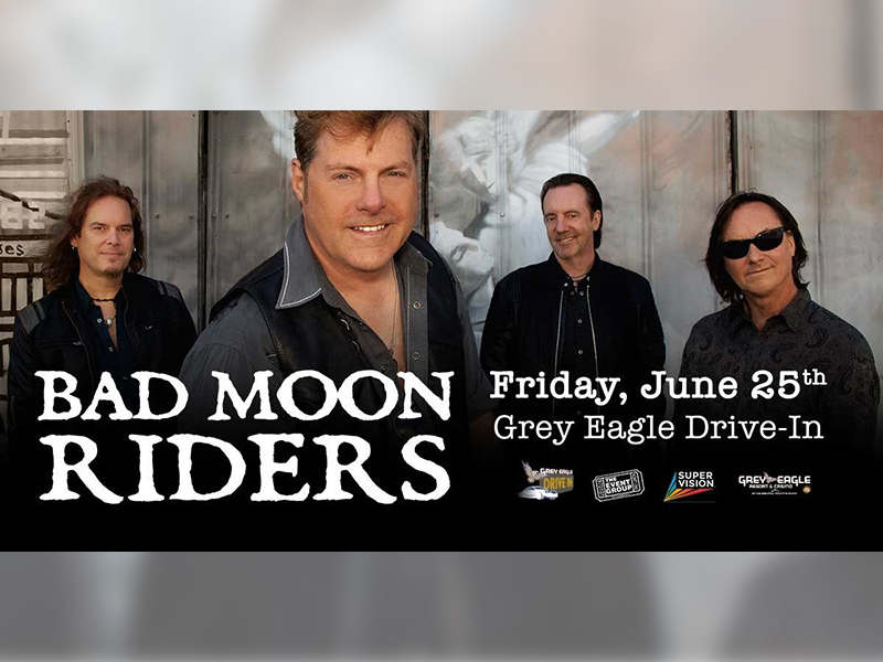 A graphic for the Bad Moon Riders at the Grey Eagle Drive In