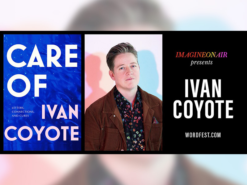 A graphic for Imagine On Air presents Ivan Coyote