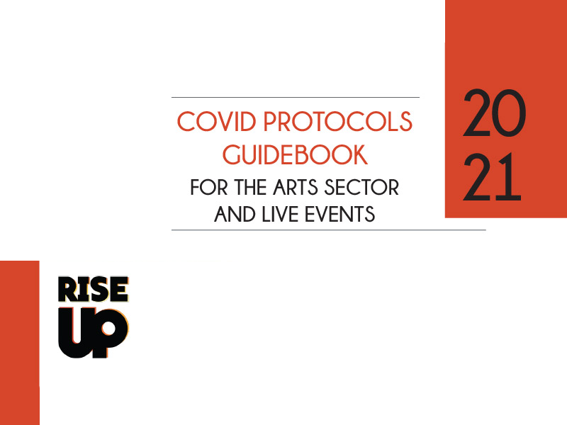 The cover for the COVID Protocols Guidebook for the Arts Sector and Live Events from RISE UP Calgary